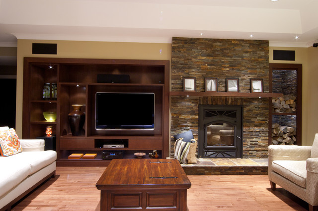 Feature wall modern family room montreal by - Modern family room design ideas ...