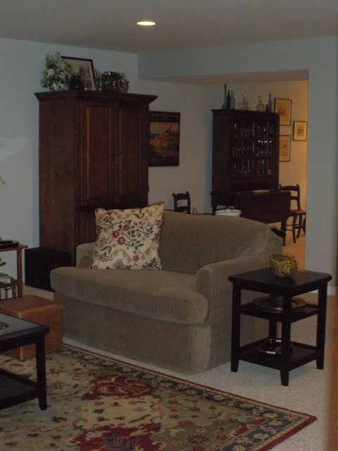 Finished basement redesign traditional family room for Redesign room layout