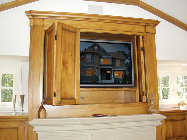 Fireplace Tv Cabinet W Pocket Doors Traditional