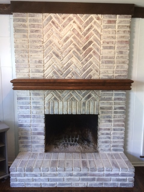 Fireplace Brick Whitewash Traditional Family Room