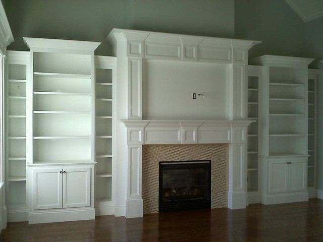 custom built bookcases around fireplace 2