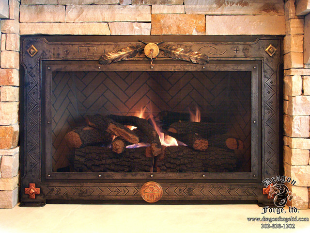 Fireplace doors southwestern family room for Southwestern fireplaces