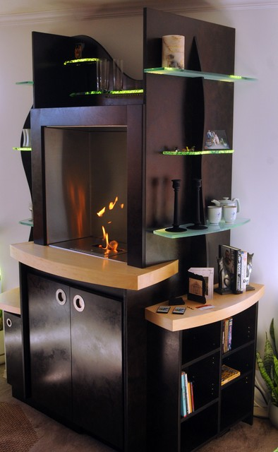 Fireplace/Liquor Bar/ Display Storage contemporary-family-room