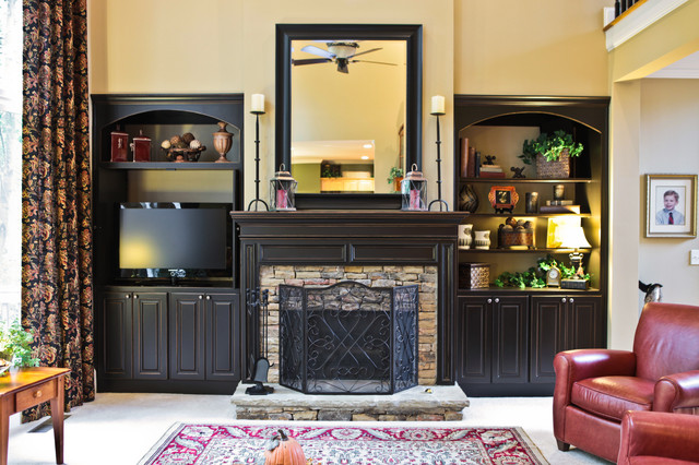 fireplace mantel traditional family room - Black Fireplace Mantels