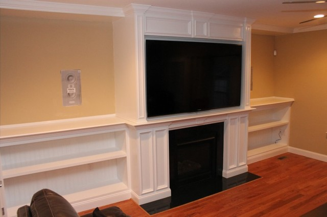 fireplace mantel with bookshelves traditional family room
