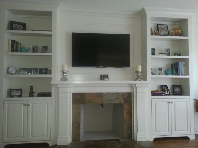 Fireplace Mantel With Built In Cabinets Transitional Family Room