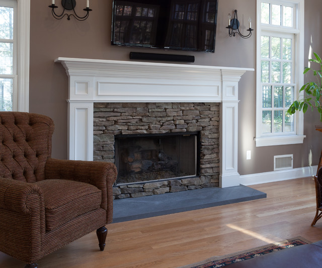 Fireplace Mantle In White With Stacked Stone Surround Set A Top Volcanic Atraditional Family Room New York