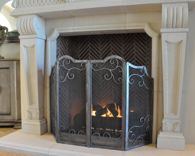 Fireplace screen traditional family room phoenix by grizzly iron inc - Houzz fireplace screens ...