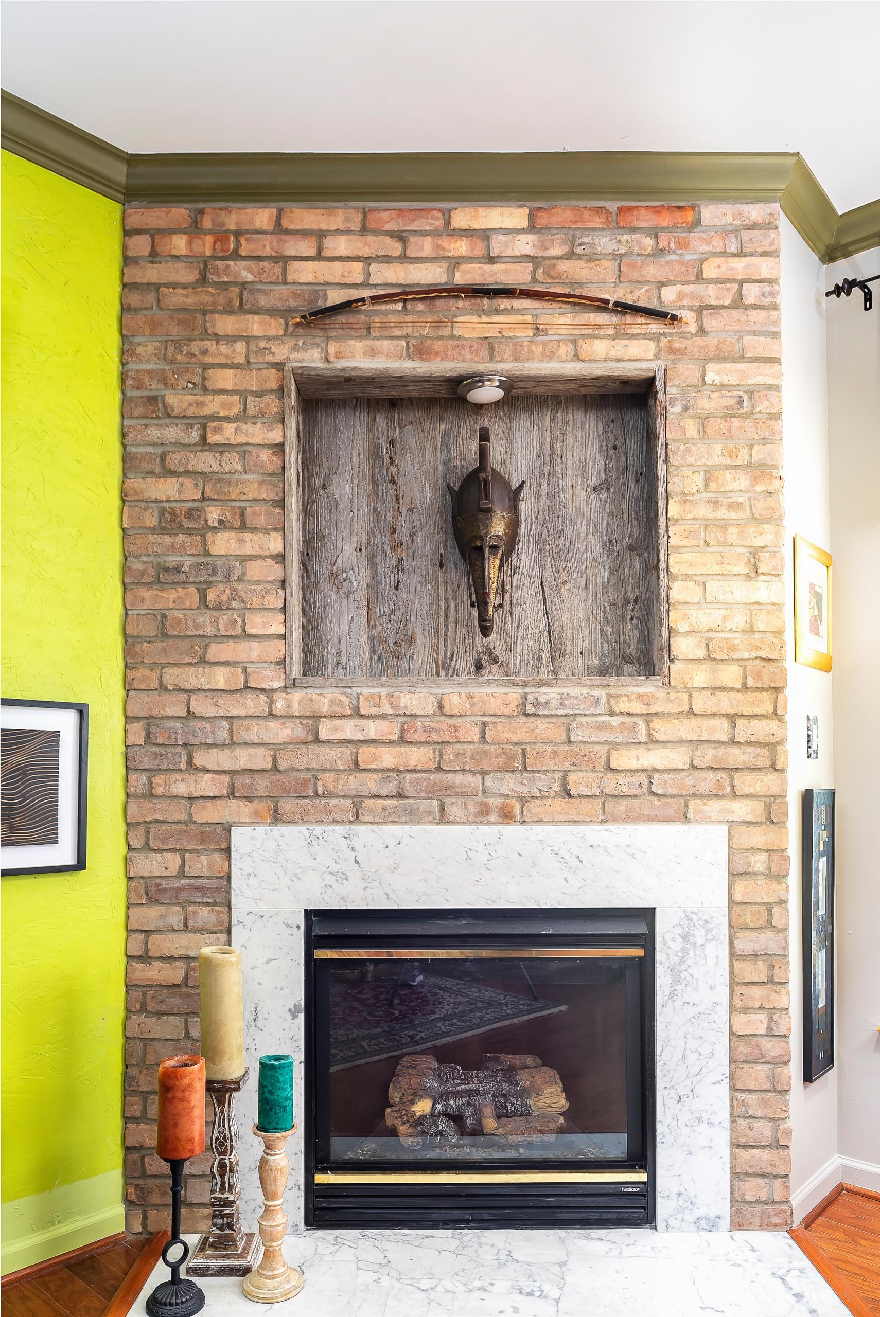 Fireplace surround and custom built antique door installation
