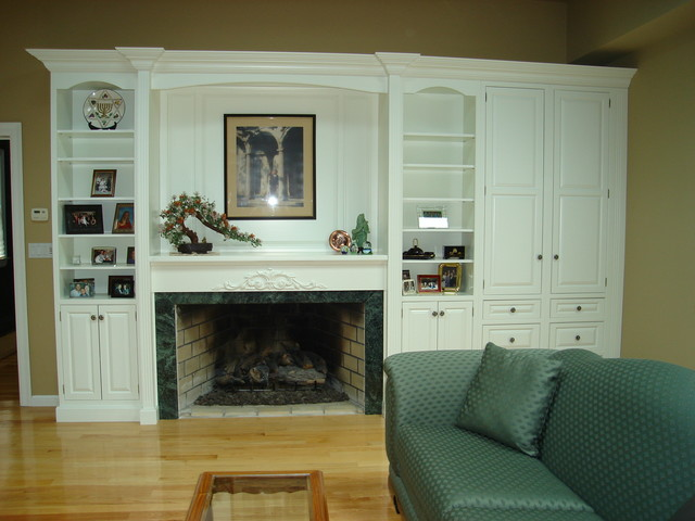 Fireplace surround and Wall unit traditional family room