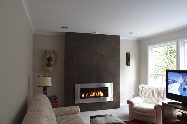 Fireplace wall - Contemporary - Family Room - Vancouver