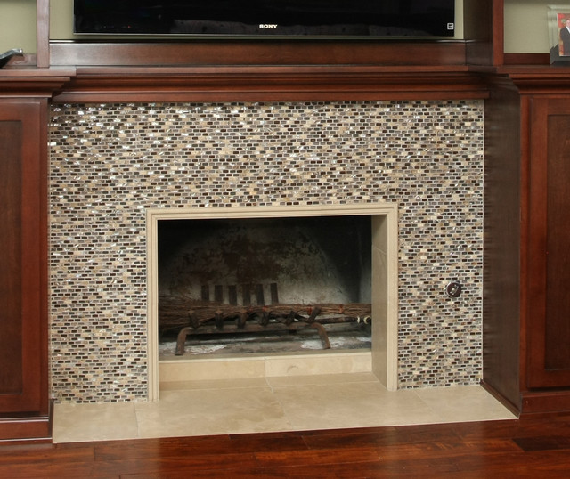 Fireplace Walls Transitional Family Room Orange
