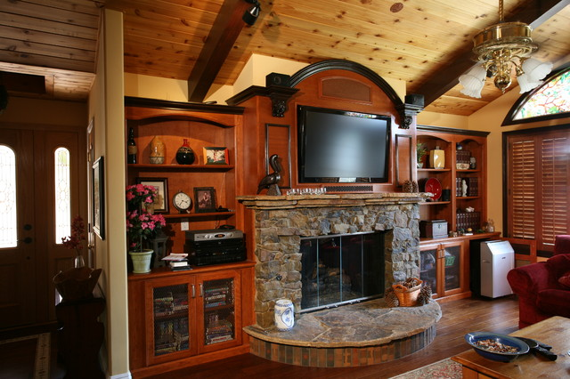 Fireplace Walls Traditional Family Room Orange