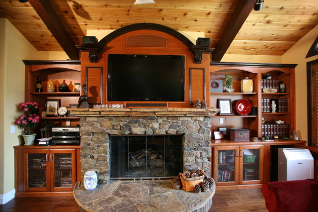 Fireplace Walls - Rustic - Family Room - Orange County - by Pacific Coast Custom Design