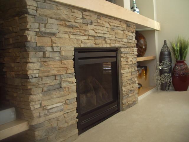 fireplace with cultured stone - Modern - Family Room - Other - by Simply Decorar