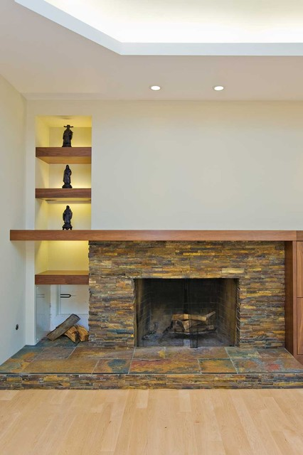 Fireplace with Firewood Storage contemporary family room