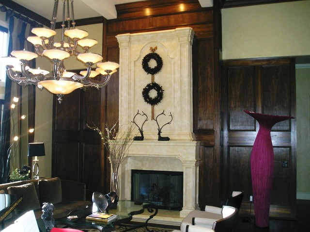 Fireplace with Panel Detail Surround contemporary family room