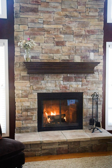 Fireplaces rustic family room chicago by north - Covering brick fireplace with tile ...