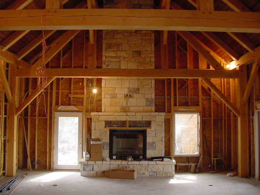 Inspiration for a rustic family room remodel in Austin