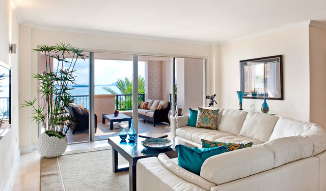 Fisher island staged condo contemporary family room miami by captiva - Decoration home staging ...