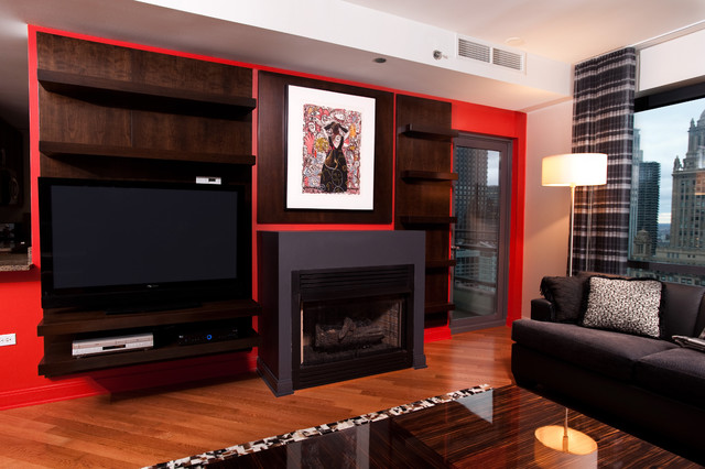 Floating Cherry Bookcase and Shelves contemporary-family-room