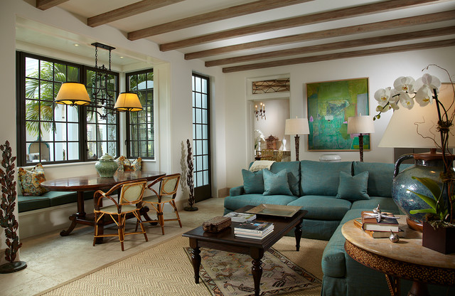 Florida Cape Dutch Mediterranean Family Room Miami