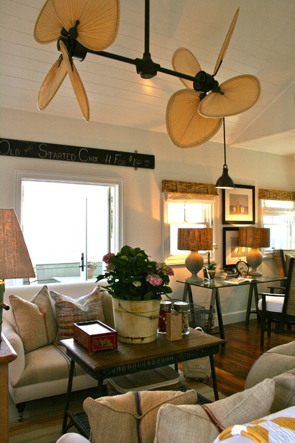 Folk art in the family room beach-style-family-room