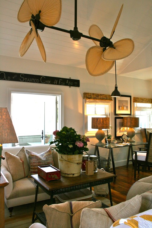 beach style family room Cool Off with Ceiling Fans