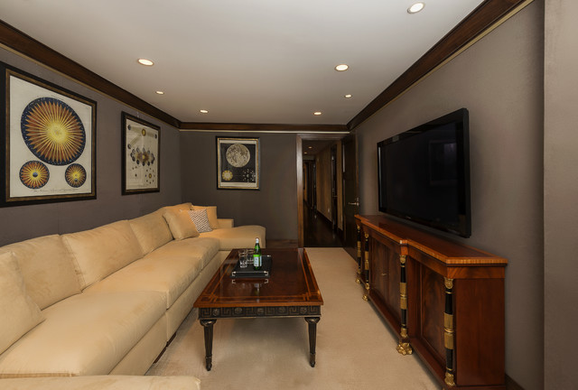 Fort Lee Penthouse - Media Room traditional-family-room