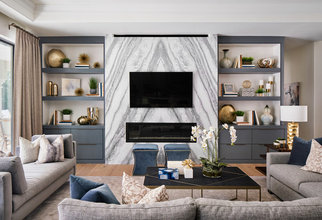 Fossil Creek Living Room Fireplace Wall Transitional Family