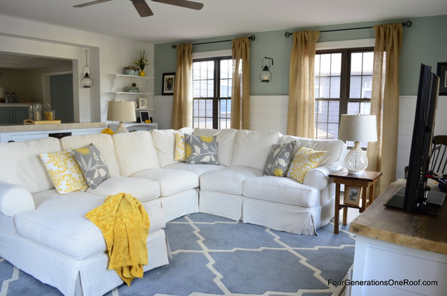 Four Generations One Roof family room before & after eclectic-family-room