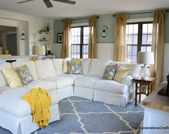 Four Generations One Roof family room before & after eclectic family room