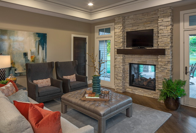 French Country Walkout Modern Family Room