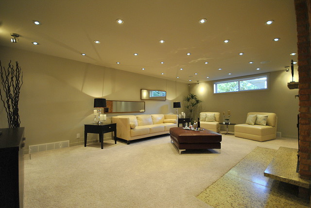 Fully finished basement family room in totally renovated 2 story in edmonton contemporary - Basement design services ...