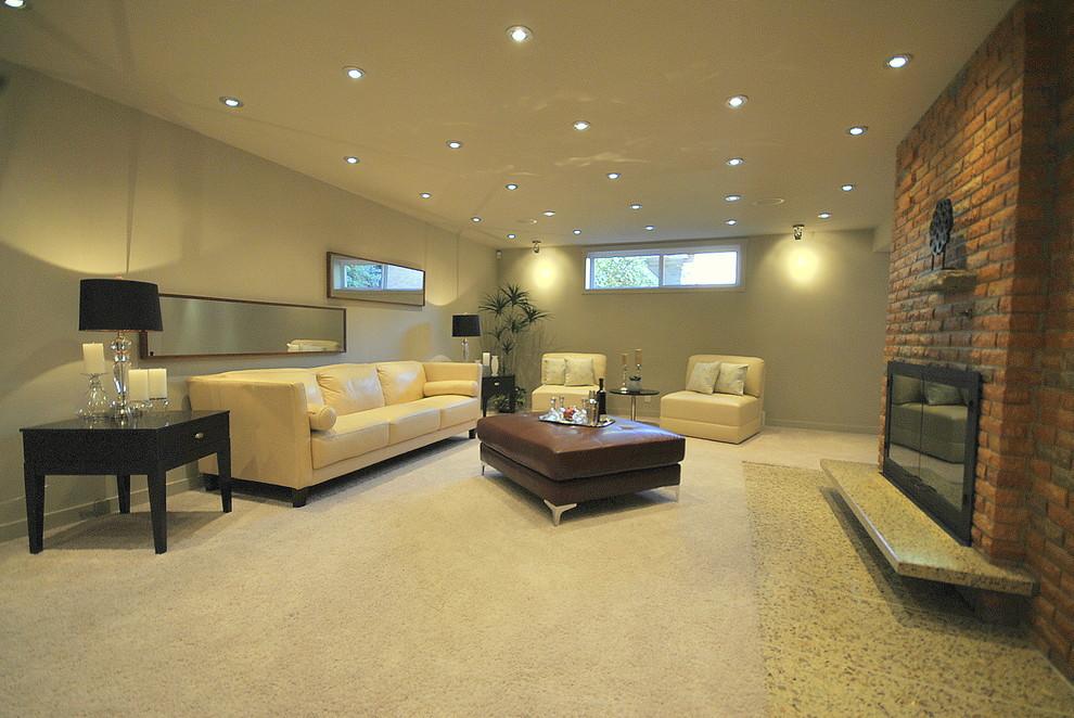 Family room - contemporary family room idea in Edmonton