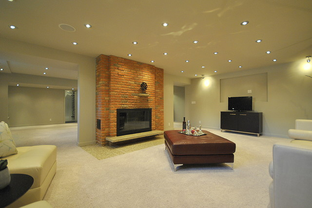 Fully Finished Basement Family Room in Totally Renovated 2-Story in Edmonton contemporary-family-room