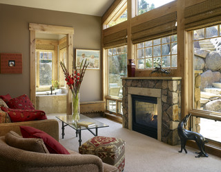 fireplace windows. Gamble Residence  Traditional Family Room Denver by MQ Architecture Design LLC