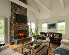 Gambrel Country Home farmhouse-family-room