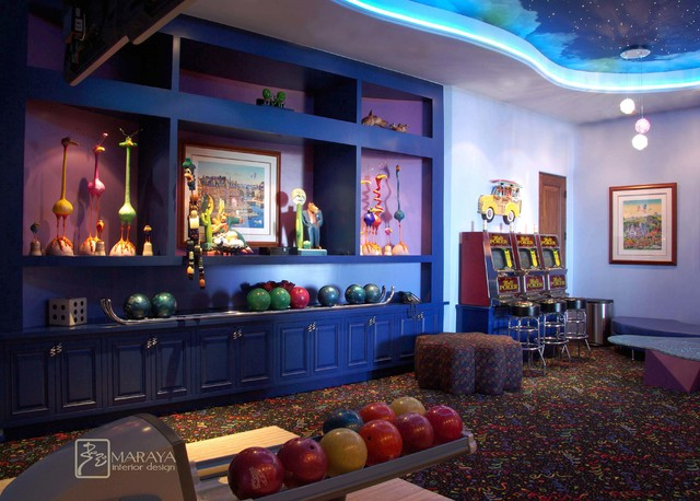 Game Room And Bowling Alley Eclectic Family Room Los