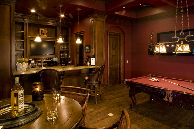 game room bar and wine room - mediterranean - family room - las