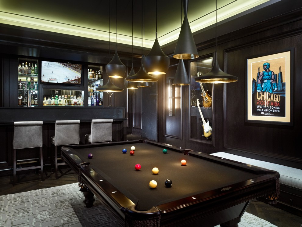 Example of a trendy family room design in Chicago with a bar, black walls and a wall-mounted tv