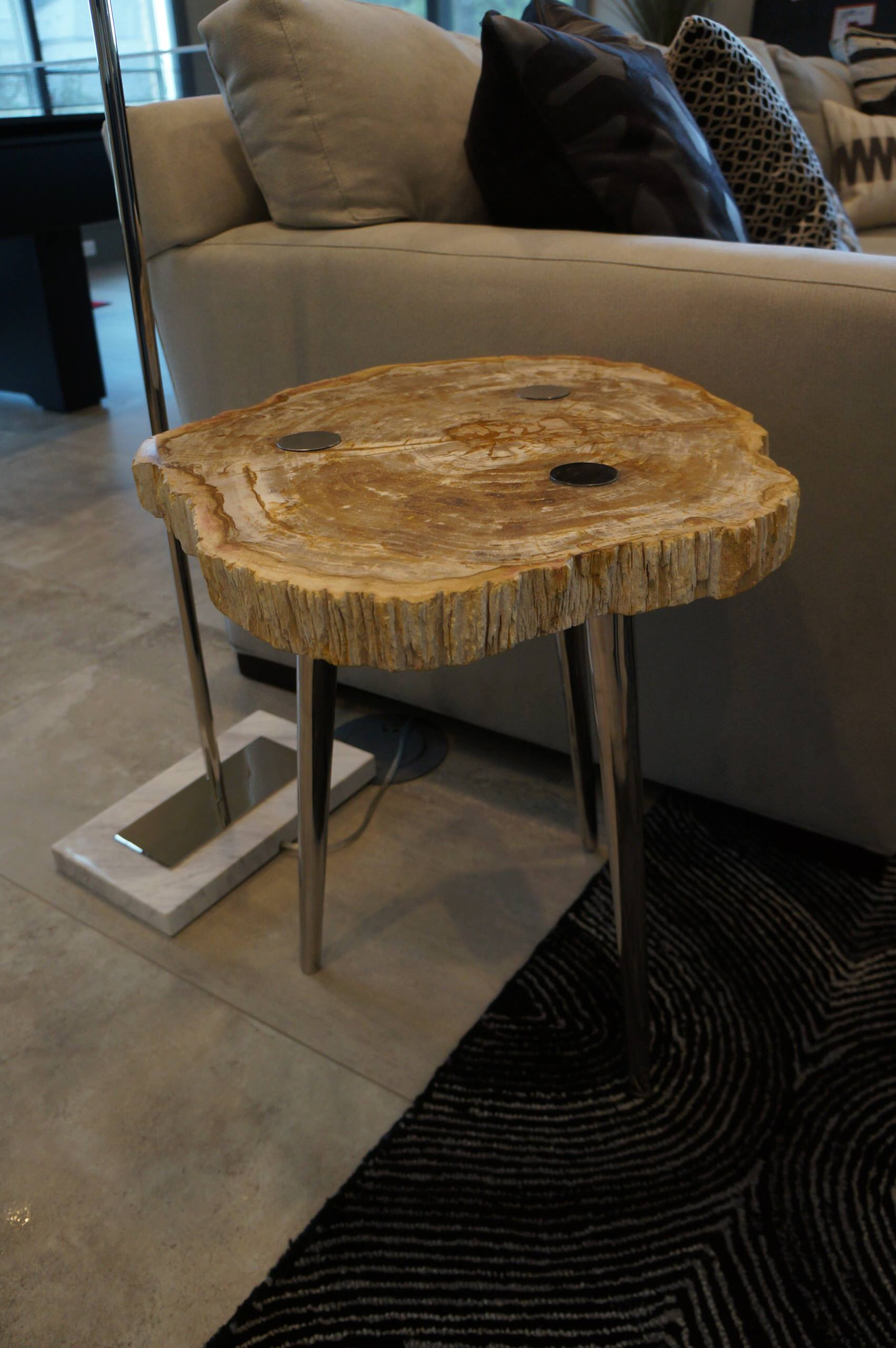 Game room petrified wood side table