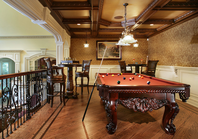 Game room with pool table traditional family room for Pool room design uk