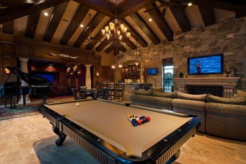 Game Room with pool table and piano fun place to watch games like the superbowl