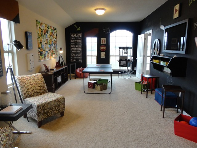 Gameroom with chalkboard walls eclectic-family-room