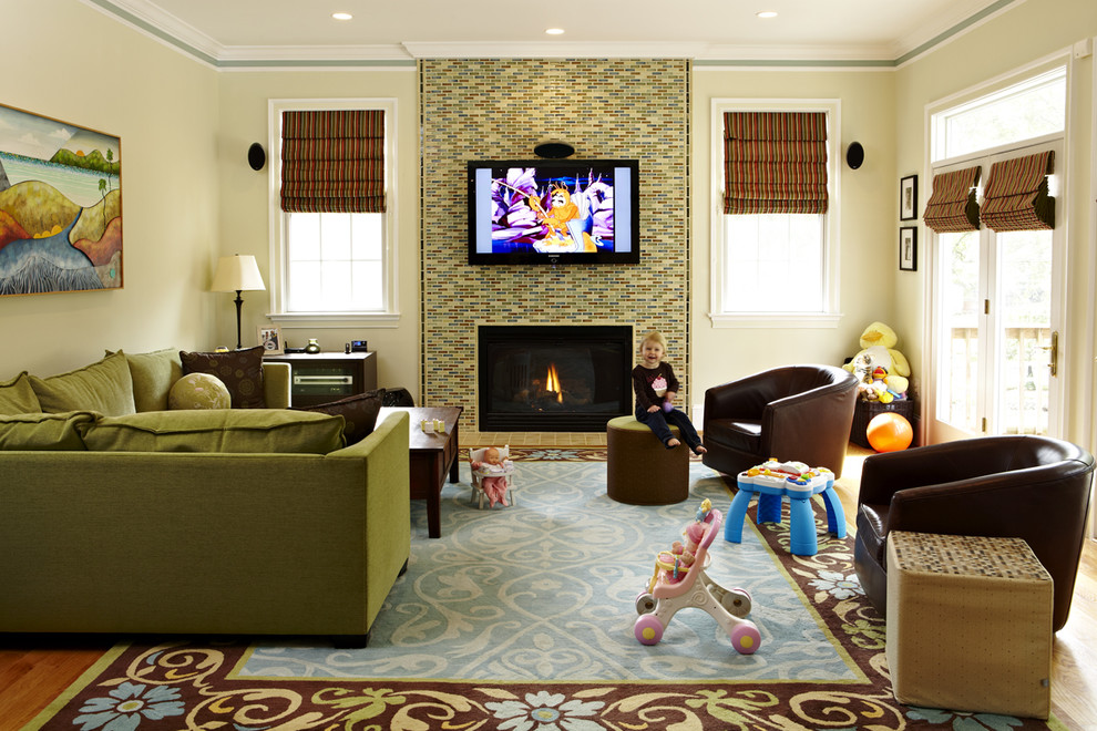 Family room - traditional family room idea in DC Metro with a tile fireplace