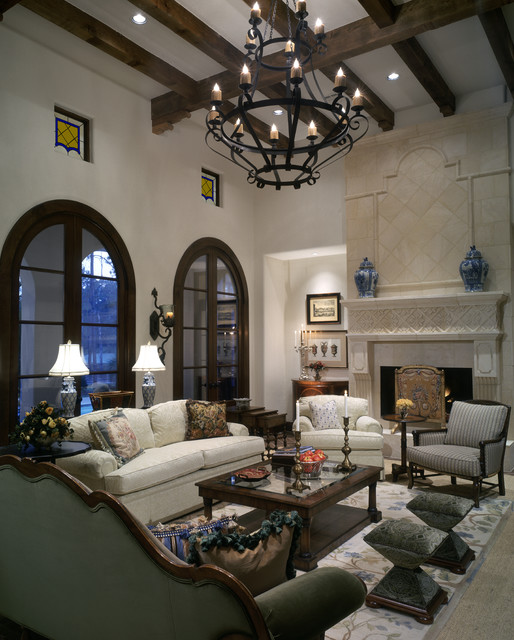 Large eclectic open concept family room photo in Houston with white walls, a standard fireplace and a stone fireplace