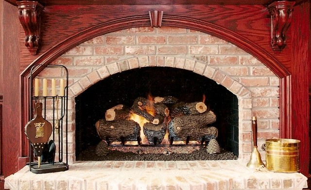 Gas logs traditional family room