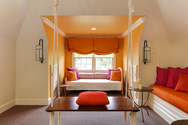 Gathering Room With Indian Swing Transitional Family Raleigh By Otrada LLC