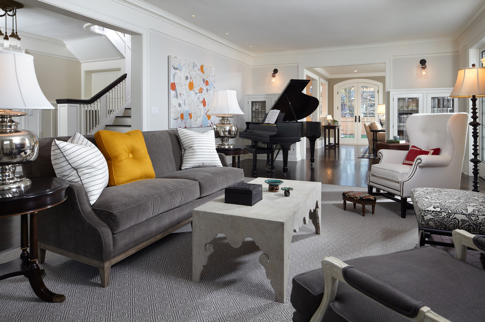 Inspiration for a timeless family room remodel in Minneapolis with gray walls